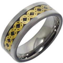 COI Titanium Celtic Inlays Ring With Carbon Fiber-3796