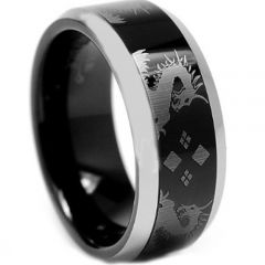 COI Titanium Black Silver Dragon Beveled Edges Ring - JT3841