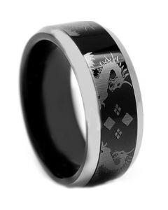 COI Titanium Black Silver Dragon Beveled Edges Ring - JT3841