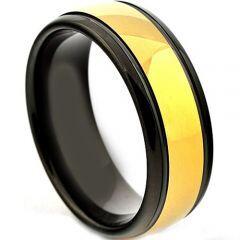 COI Titanium Black Gold Tone Step Edges Ring - JT3862