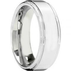 COI Titanium Step Edges Wedding Band Ring - JT3883