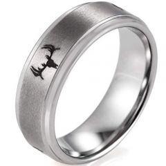 COI Titanium Deer Head Step Edges Ring - JT3902BB