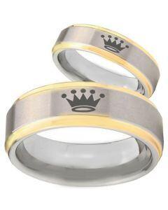 COI Titanium Gold Tone Silver King Crown Step Edges Ring - 3920
