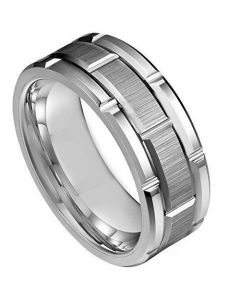 COI Titanium Tire Tread Brick Pattern Ring - JT3689