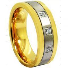 *COI Titanium Gold Tone Silver Ring With Cubic Zirconia- 3943