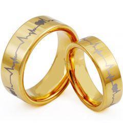 *COI Gold Tone Titanium Heartbeat Pipe Cut Flat Ring - JT4056