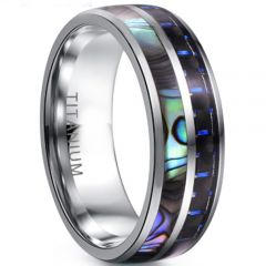 COI Titanium Abalone Shell & Carbon Fiber Dome Court Ring-3955C