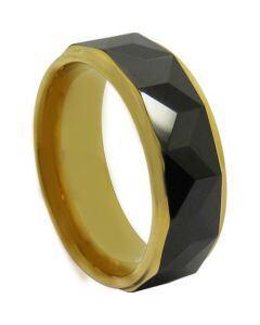 COI Titanium Black Gold Faceted Step Edges Ring - JT3984