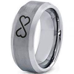 COI Titanium Infinity Heart Beveled Edges Ring - 4003