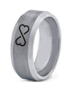 COI Titanium Infinity Heart Beveled Edges Ring - 4003