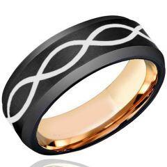 COI Titanium Black Rose Infinity Beveled Edges Ring - JT4012