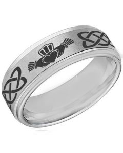 *COI Titanium Mo Anam Cara Celtic Step Edges Ring-JT5156