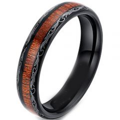 COI Black Titanium Damascus Dome Court Ring With Wood - JT4057