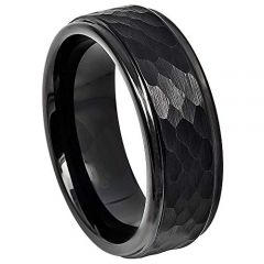 COI Black Titanium Hammered Step Edges Ring - JT4062