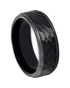 COI Black Titanium Hammered Step Edges Ring - JT4062