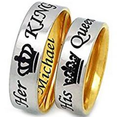 COI Titanium King Queen Crown Dome Court Ring-JT4089