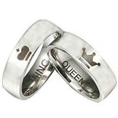 COI Titanium King Queen Crown Pipe Cut Flat Ring - JT4091