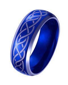 *COI Titanium Blue Silver Celtic Beveled Edges Ring-JT3299