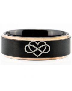 COI Titanium Black Rose Infinity Heart Step Edges Ring-4115