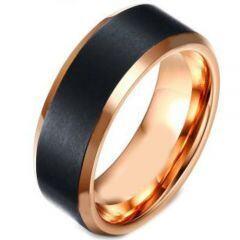 COI Titanium Black Rose Beveled Edges Ring - 4154