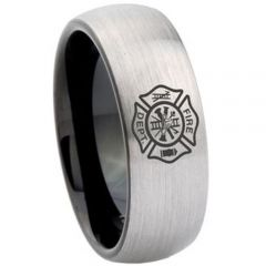 COI Titanium Black Silver Firefighter Dome Court Ring - 4167