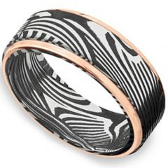 *COI Titanium Black Rose Damascus Step Edges Ring - 4171