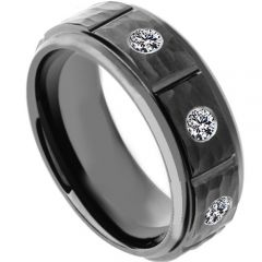 COI Black Titanium Hammered Ring With Cubic Zirconia - 4181