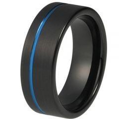 COI Titanium Black Blue Offset Groove Pipe Cut Flat Ring-JT4083