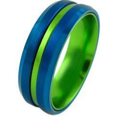 COI Titanium Blue Green Center Groove Beveled Edges Ring-4210