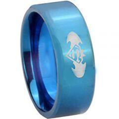 COI Blue Titanium Superman Batman Pipe Cut Flat Ring-4227
