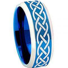 COI Titanium Blue Silver Celtic Beveled Edges Ring - 4258