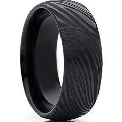 *COI Black Titanium Damascus Dome Court Ring - 4281