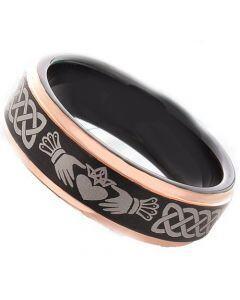 *COI Titanium Black Rose Mo Anam Cara Celtic Ring-3491