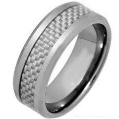 COI Titanium Beveled Edges Ring With Carbon Fiber - JT3520