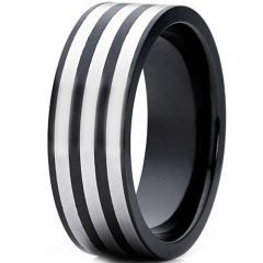 COI Titanium Black Silver Triple Lines Pipe Cut Flat Ring - 4330