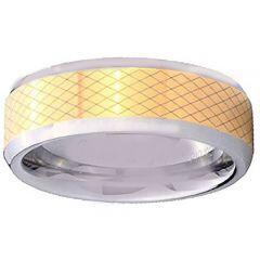 COI Titanium Gold Tone Silver Laser Pattern Ring-4344