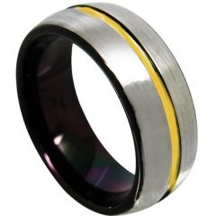 COI Titanium Black Gold Tone Center Groove Ring - 4366
