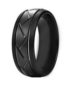 COI Black Titanium Tire Tread Double Grooves Ring - JT3619