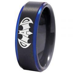 COI Titanium Black Blue Super Dad Bat Step Edges Ring - 4409