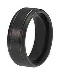 COI Black Titanium Sandblasted Double Grooves Ring - JT3632