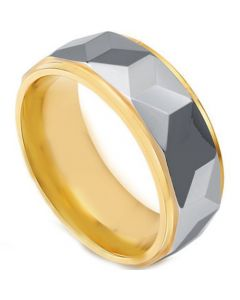 COI Titanium Gold Tone Silver Faceted Step Edges Ring - JT2676AA