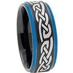 COI Titanium Black Blue Celtic Step Edges Ring - 4453