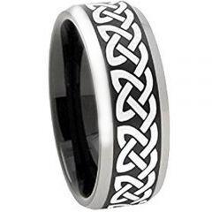 COI Titanium Black Silver Celtic Beveled Edges Ring - 4496