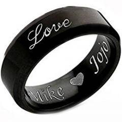 COI Black Titanium Love Ring With Custom Engraving-JT4529