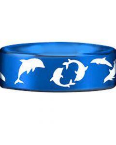 COI Titanium Blue Silver Dolphin Pipe Cut Flat Ring-JT3771