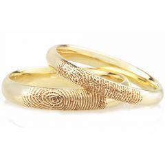 COI Gold Tone Titanium Custom Fingerprint Dome Court Ring-3777