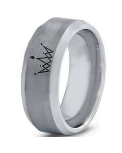 COI Titanium King Crown Beveled Edges Ring-4560