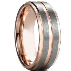 COI Titanium Rose Silver Center Groove Step Edges Ring - 4597
