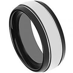 COI Titanium Double Grooves Beveled Edges Ring - 4653