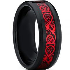 COI Titanium Black Red Dragon Beveled Edges Ring-4659